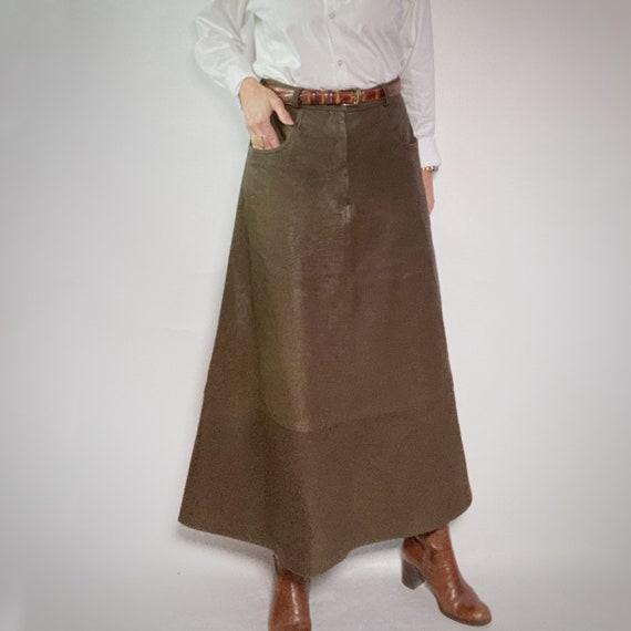 Leather Maxi Skirt, Brown Long Skirt, Pioneer Skir