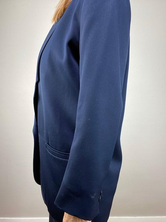 90s Oversized Navy Blazer, Minimalist Wool Blazer… - image 8