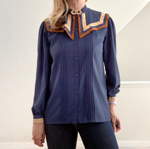 Big Collar Blouse, Blue Silky Statement Shirt