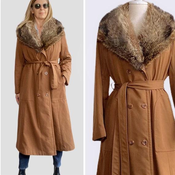 70s Raincoat Coat, Coat with Fur Trim, Winter Coat