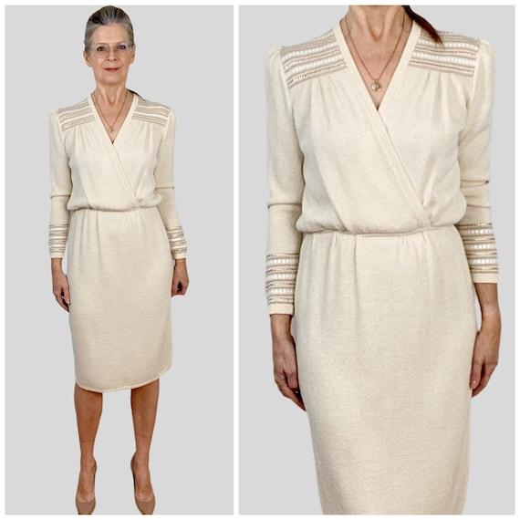 Vintage St. John Knit Dress, Cream Knit Dress