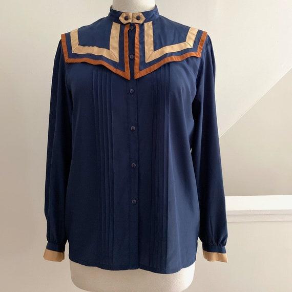 Big Collar Blouse, Blue Silky Statement Shirt - image 6
