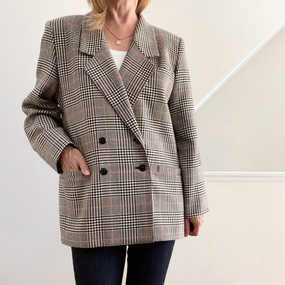 80s Oversized Blazer, Wool Blazer, Plaid Jacket