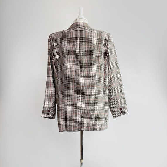Boxy Plaid Blazer, Oversized Wool Blazer - image 3