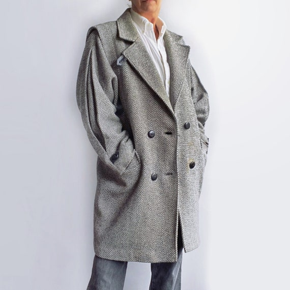 Oversized Tweed Coat, 80s Gray Wool Coat