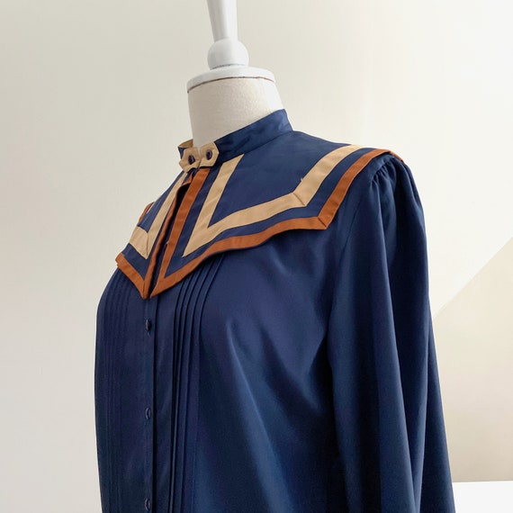 Big Collar Blouse, Blue Silky Statement Shirt - image 5