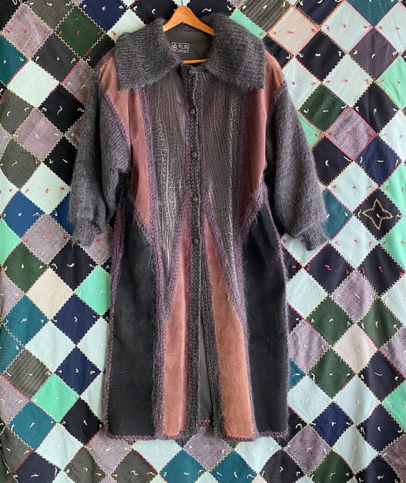 70s Patchwork Coat, Long Suede Knit Coat, Sweater