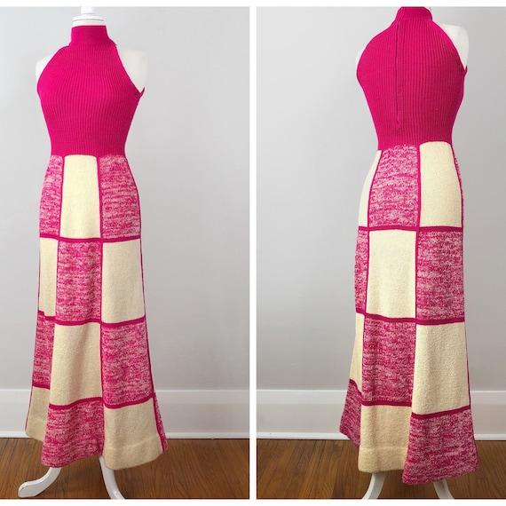 70s Patchwork Dress, Long Knit Dress