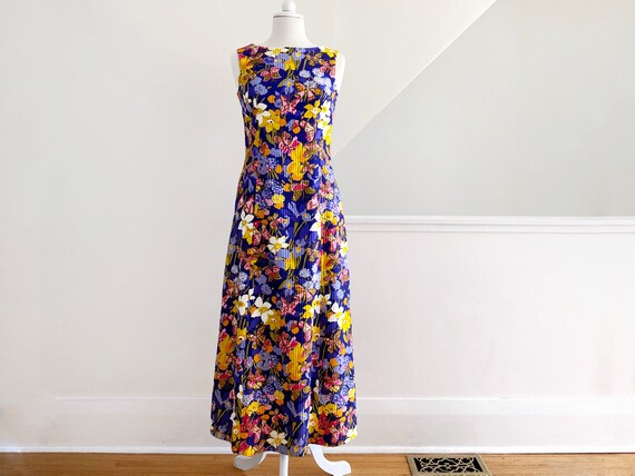Vintage 60s Floral Maxi Dress, Cotton Maxi Dress,