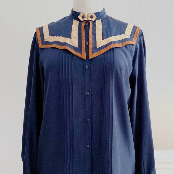 Big Collar Blouse, Blue Silky Statement Shirt