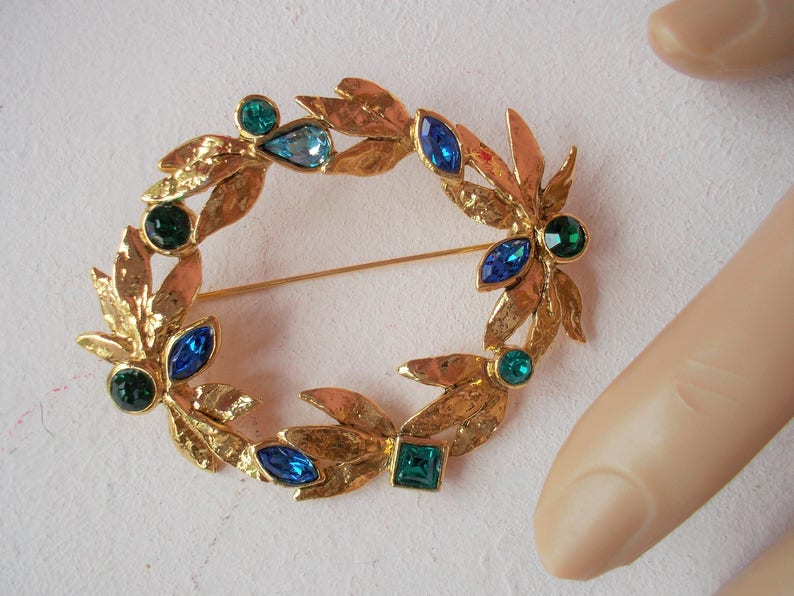 46a9e791cd6 YSL Big Gold Tone Oval Brooch with Blue Green Light Blue   Etsy