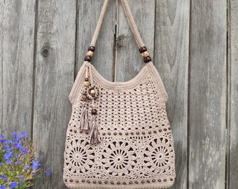 17770dd2a2c2 Beige handmade crochet handbag Red crochet bag Summer cotton boho crochet  purse Tan bag Summer crochet bag Gift idea