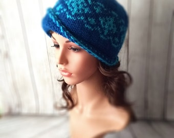 758079303d1 Knitted blue hat