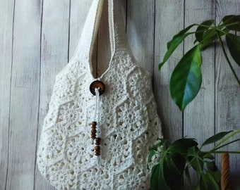 Made to Order! White  handmade crochet handbag .Summer cotton boho crochet purse