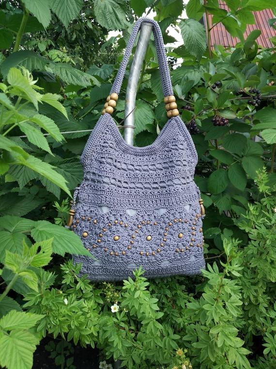 Handarbeit häkeln Handtasche grau. Sommer Baumwolle Boho | Etsy