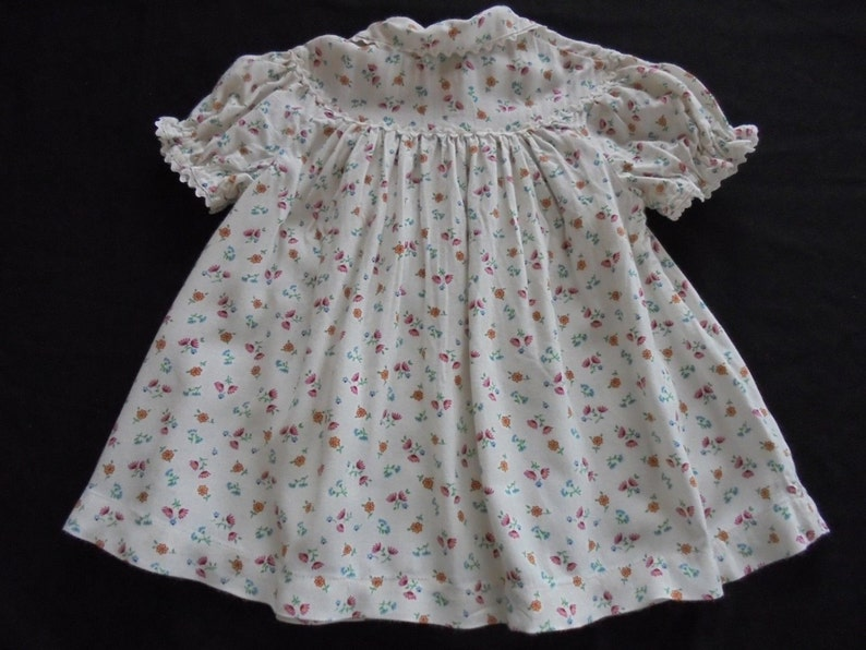 918e16802022 Vintage Baby Dress Floral Brushed Cotton Print Suit Bear or