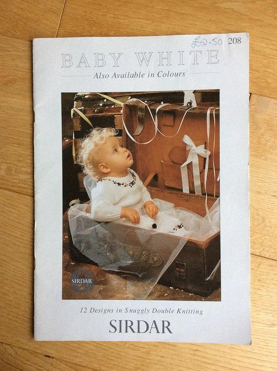 Vintage Baby Knitting Pattern Booklet Sirdar Baby White 12 Etsy