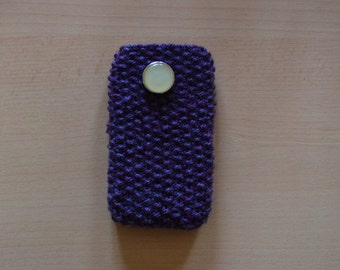 Hand knitted purple phone/ipod case