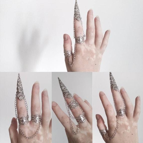 Full Hand Armour Alik Gothic Finger Claws Dark Alternative Nail Jewelry Rings Dark Jewelry