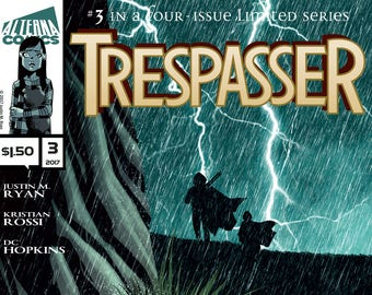 Single Issues: Trespasser #3 of 4 (Alterna Comics, 2017) Justin M. Ryan, Kristian Rossi, DC Hopkins newsprint comic alien thriller sci fi