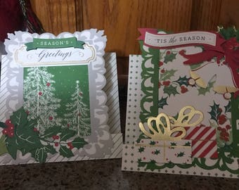 Set of 5 Anna Griffin , window frame , standup Christmas cards