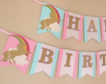Unicorn Birthday Banner - Unicorn Banner - Unicorn Birthday sign - Rainbow Unicorn Birthday Banner - Unicorn Name Banner