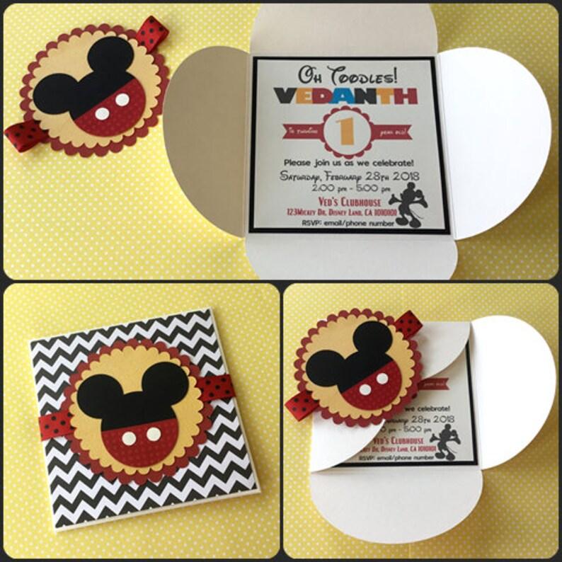 Mickey Mouse Birthday Invitation Mickey Mouse Invitations Etsy