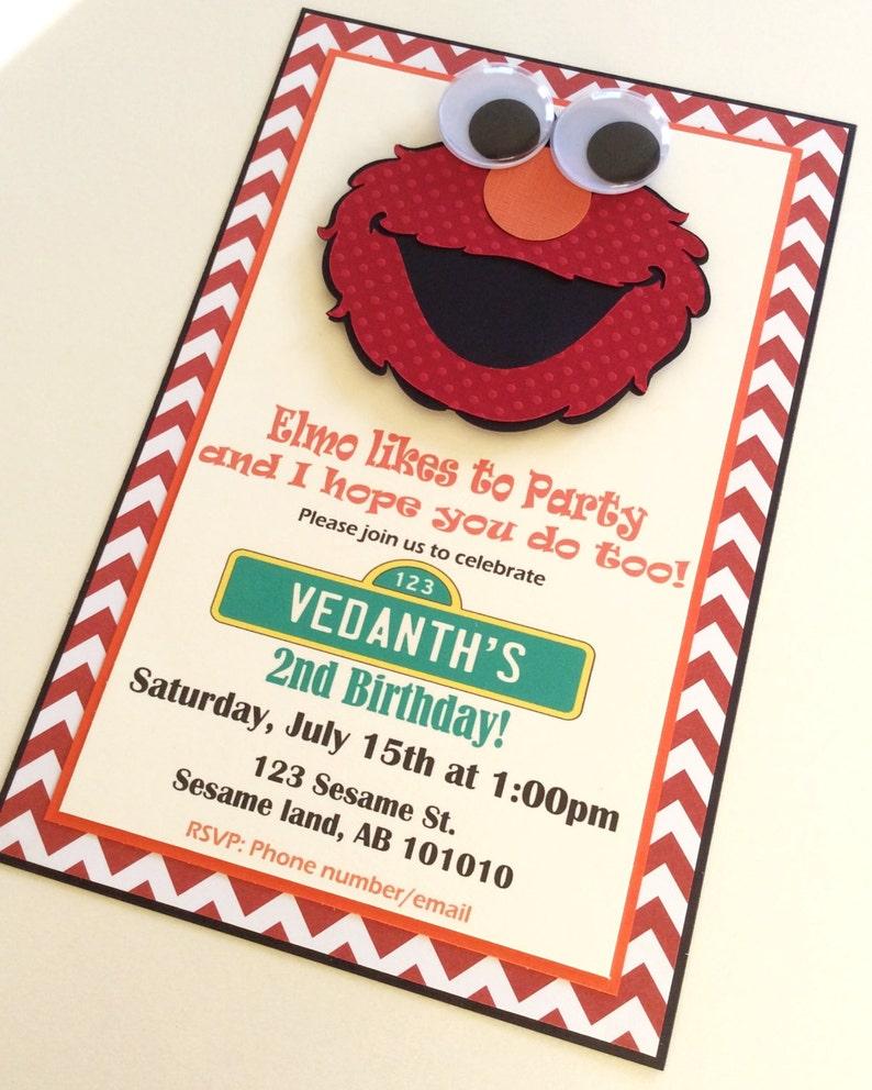 Elmo Invitation Sesame Street Handmade
