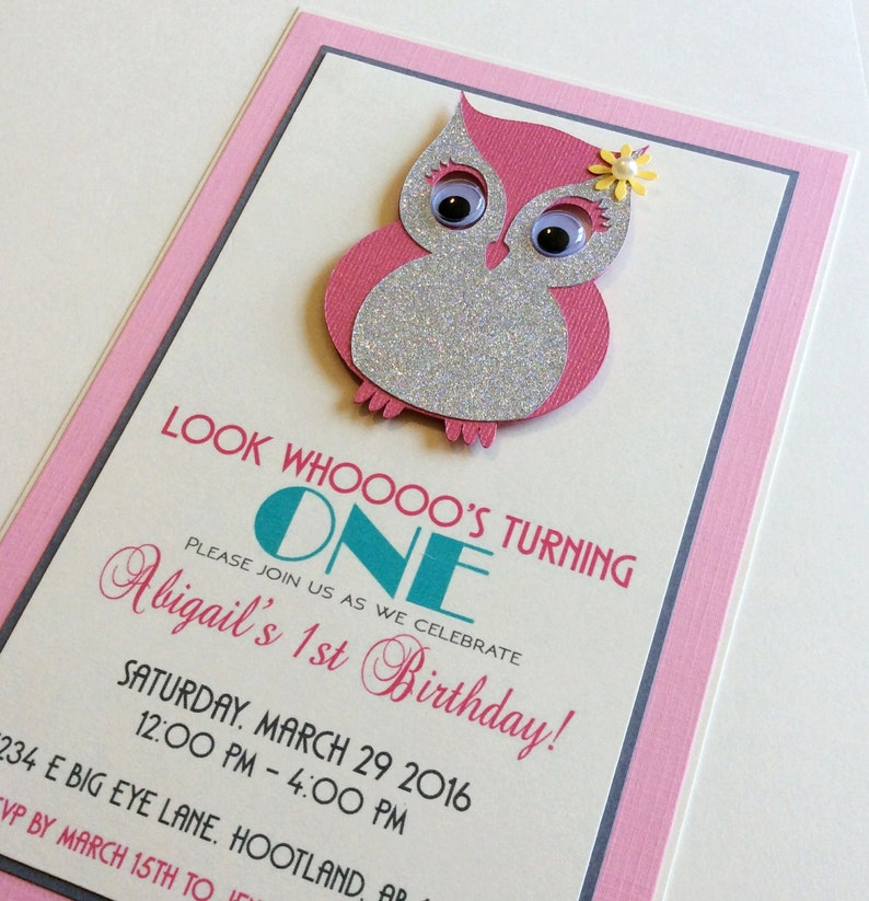 Owl Invitation Birthday Handmade
