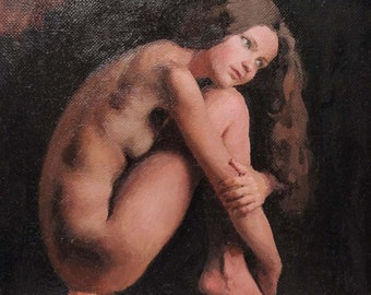 Nude. Oil on Linen. Realistic original oil painting by Sergey Gusev.