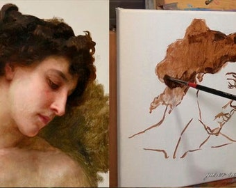 How to paint a portrait like William Bouguereau? Video tutorial to download by Sergey Gusev.