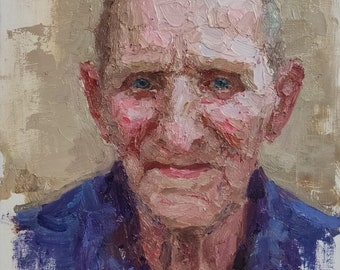 An Old Man. Oil on Linen. Realistic original oil painting by Sergey Gusev.
