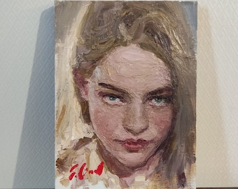 A Girl's Portrait. Oil on Linen. Realistic original oil painting by Sergey Gusev.
