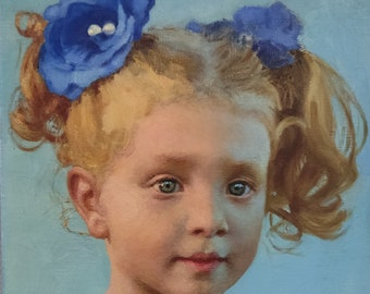 A Child Portrait. Oil on Linen. Realistic original oil painting by Sergey Gusev.