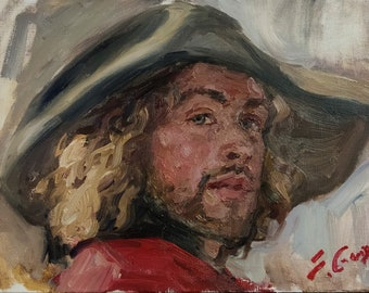 A Musketeer. Oil on Linen. Realistic original oil painting by Sergey Gusev.