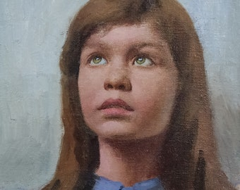 A Girl's Portrait. Oil on Linen Panel. Realistic original oil painting by Sergey Gusev.