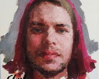 Self Portrait. Oil on linen. Realistic impasto original oil painting by Sergey Gusev.