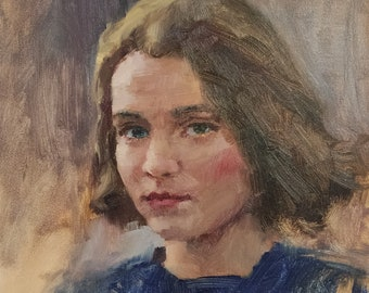 A Girl's Portrait. Oil on Panel. Realistic original oil painting by Sergey Gusev.