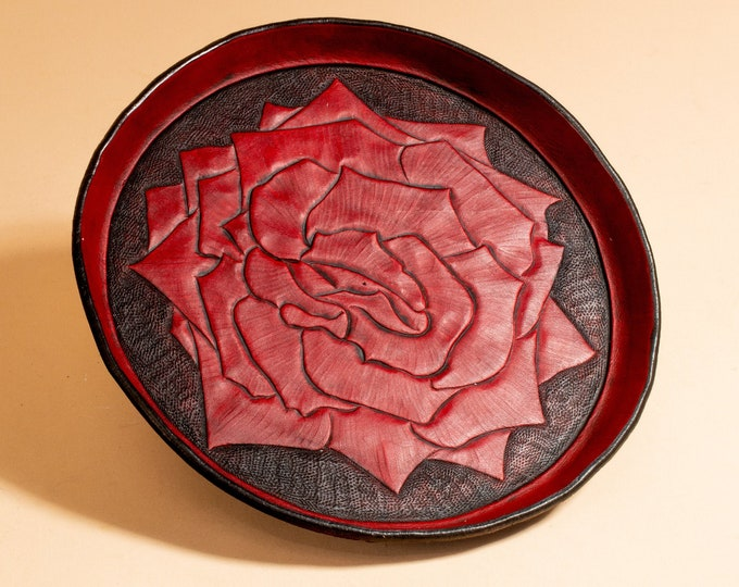Leather Dish Engraved with Rose