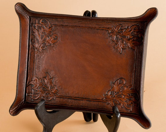 Hand Engraved Floral Border Tray - Leather Valet with Ornimental Carving