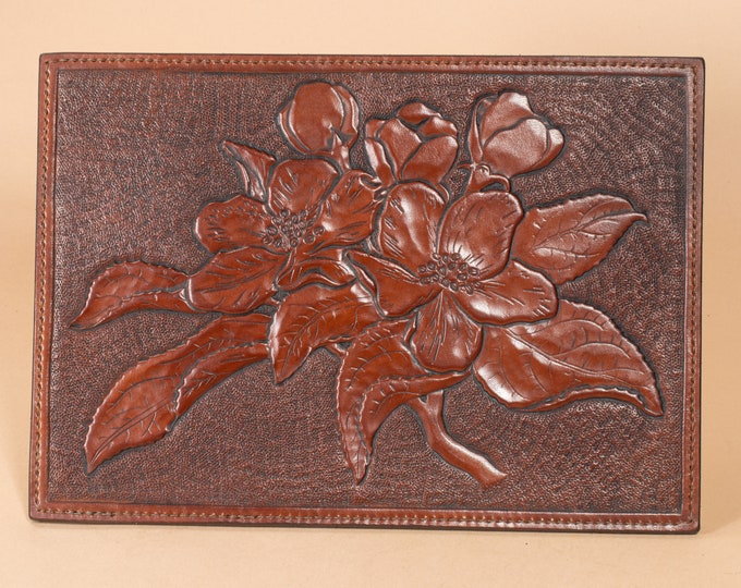 Apple Blossom Branch - Low Relief Engraving in Leather