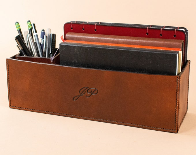Leather Desk Organizer Set - Square Pen Cup and Notebook Caddy