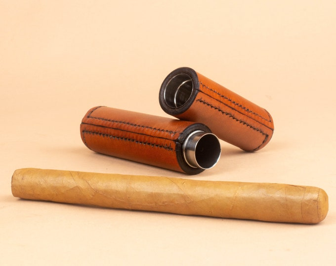 Leather Cigar Travel Tube - Hand Stitched