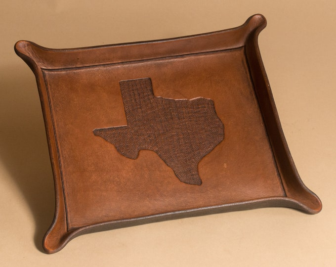 Texas State Map Engraving Tray - Full Grain Leather