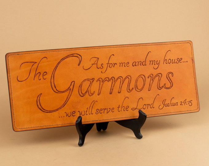 "Leather Wallhanging Scripture - ""As for me and my house..."""