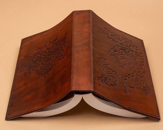 Custom Book Jacket - Hand Engraved Leather