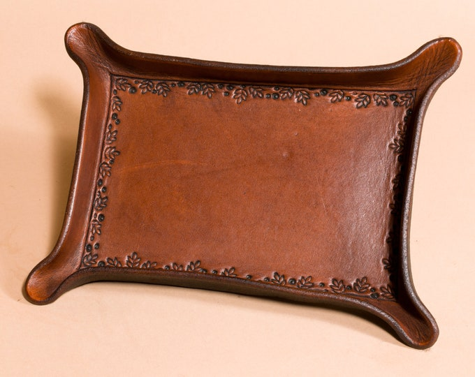 Leather Tray with Leaves and Berries Border Detail