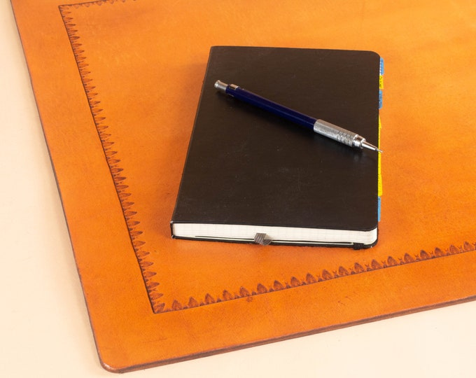 Office Blotter Pad with Tooled Border in Full Grain Leather