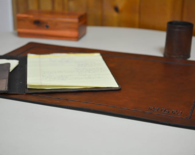 Desk Pad with Toold Border in Full Grain Leather