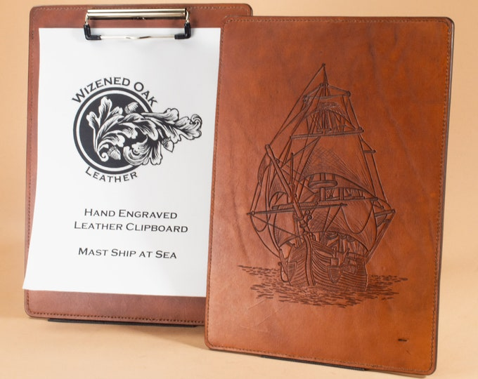 Clipboard with Mast Ship Hand Engraving - Full Grain Leather